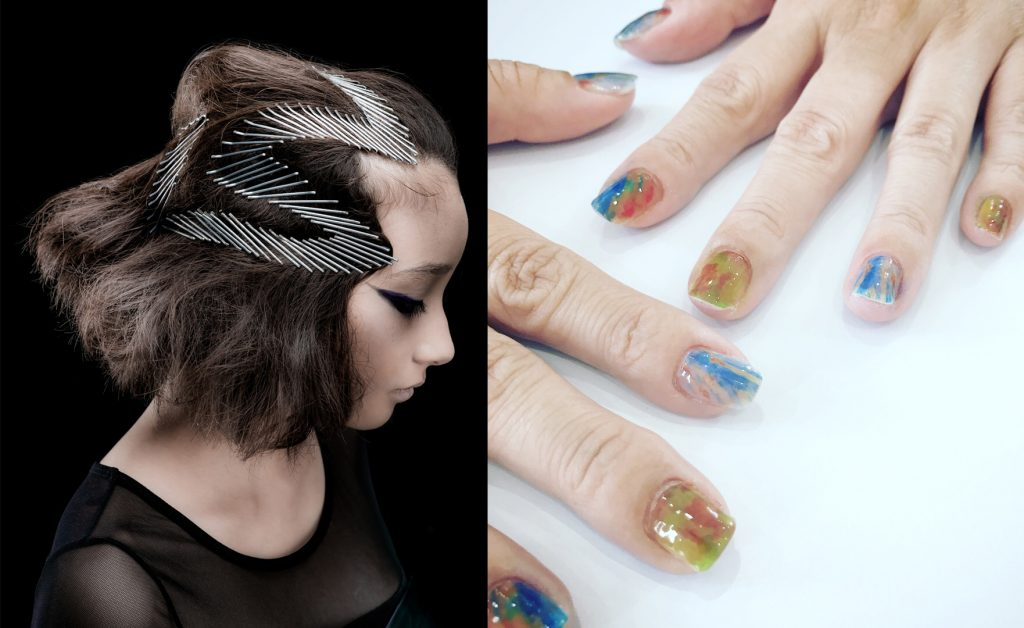 Hairstyles from London and nail art created with the latest printer  Kos Hairdressing (Mashiki, Ginowan City)